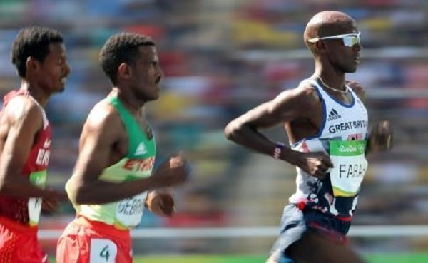 Hagos Gebrehiwot competing Farah at Rio