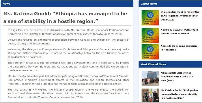 Screenshot of Ethiopia's Ministry of Foreign Affairs news update about Karina's remark