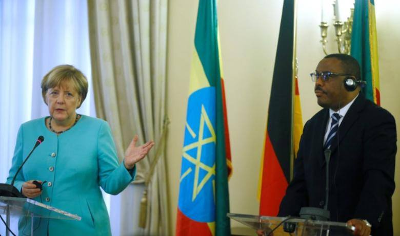 Angela Merkel and Hailemariam Desalegne Photo : Reuters via ESAT