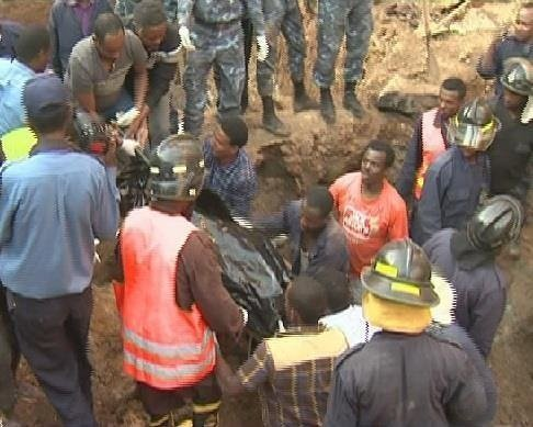 Land prepared for construction in Addis Ababa collapsed  Source : EBC