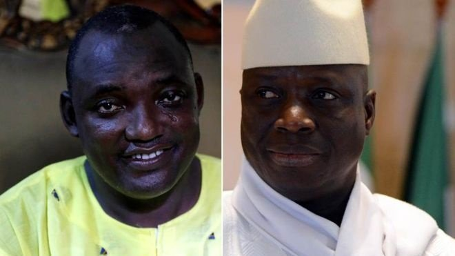 Yahya Jammeh, right, lost the election to Adama Barrow, left  Source: BBC