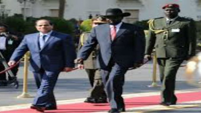 Presidetn Kiir and President Sisi. Egypt and South Sudan  - source Middle East Observer
