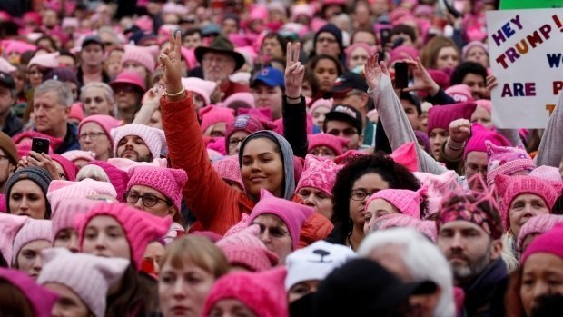 The 'pussyhats' grab back : Massive Women's March on Washington overwhelms streets (CBC)