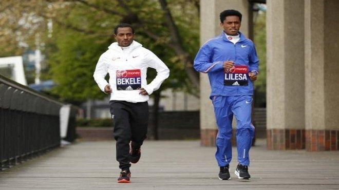 Feyisa Lilesa and Kenenisa Bekele - London Marathon 2017 - preparation - Photo - AFP