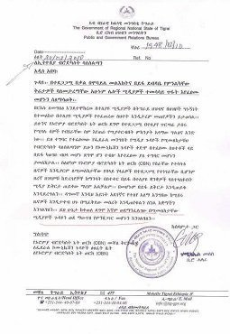 Tigray regional state's letter to Ethiopian Broadcast Authority