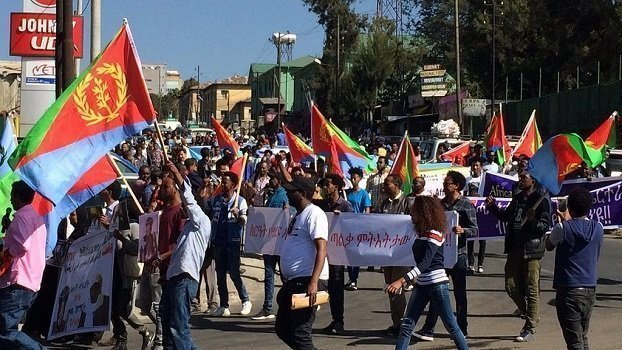 Eritreans protest in Addis Ababa amid country wide protest ban for Ethiopians