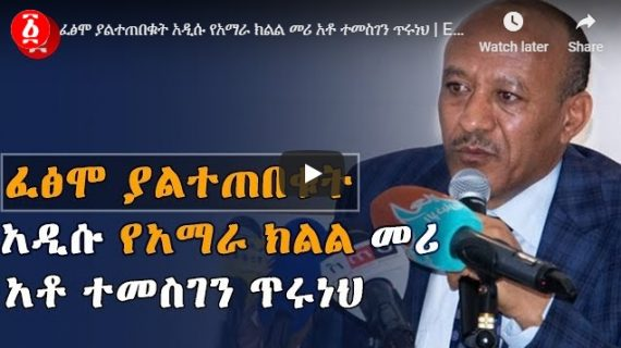 The new Amhara region president – Temesgen Tiruneh