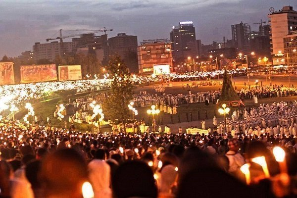Ethiopia celebrating Meskel Demera Holiday across the country