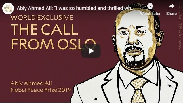 Abiy Ahmed's reaction to news of Nobel Peace Prize win. Listen to him